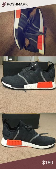 NMD R1 Mesh Topped. Reflect when lights on them. Gray body with orange accents Adidas Shoes Sneakers