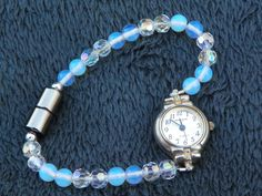 Swarovski Crystals and Sea Opal make this watch band swarovski watch band crystal watch band sea opal watch band magnetic clasp gift present by CathysCreationsPlus on Etsy
