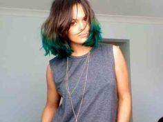 Green ombre bob hair