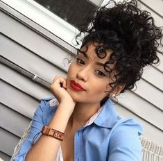 15 Most Cute Curly Hairstyles for Women Over 30 Curly Bun Cute Curly Hairstyles, Curly Hair Updo, Curly Bangs, Messy Curly Bun, Stylish Hairstyles, Curly Updos For Medium Hair, Amazing Hairstyles, Hairstyles 2018, Curly Hair With Fringe