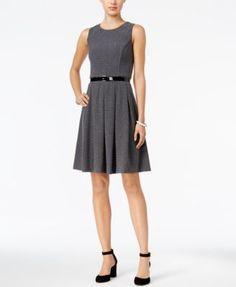 TOMMY HILFIGER Tommy Hilfiger Belted Fit & Flare Dress. #tommyhilfiger #cloth # dresses
