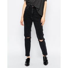 Dr Denim Cropa Cabana High Waist Cropped Skinny Jeans ($85) ❤ liked on Polyvore featuring jeans, black, high-waisted jeans, skinny fit denim jeans, high rise jeans, tall jeans and skinny leg jeans