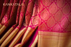 A Royal Gadwal Pink Saree is a thing of beauty. Gadwal grandiose expressed on the intricate weave of this floral paisley zari laden pink saree and the dazzling border filled with gold zari  #gadwal #saree #kankatala #paisley #pink #handloom