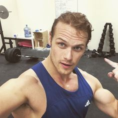 Pin for Later: 38 Pictures of Sam Heughan That Will Help Get You Through the Wait For Outlander's Return This Sweaty Workout Selfie