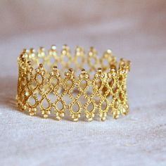 golden elegant bracelet, handmade tatting lace, sparkling bracelet, filigree lace