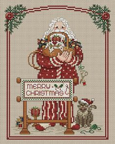 Stitching Santa: A Cross Stitch Chart by Sue Hillis Designs Cross Patterns, Counted Cross Stitch Patterns, Cross Stitch Charts, Cross Stitch Designs, Cross Stitch Embroidery, Santa Cross Stitch, Christmas Embroidery, Christmas Cross, Embroidery Techniques