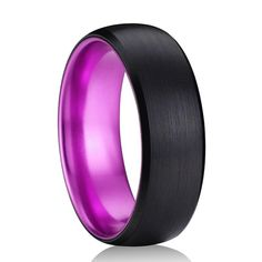 8mm Black & Purple Brushed Dome Tungsten Carbide Ring