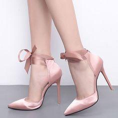 c98464b9851 Plain Pointed Toe Stiletto Heel Lace-Up Women s Pumps   Tidebuy.com  Stiletto Heels