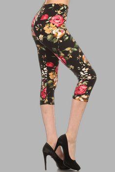 Classic rose print Capri Legging #FLOWERS
