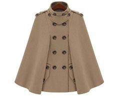 2014 invierno europeo Poncho mujeres moda Manteau Femme para mujer de doble botonadura chaquetón de lana Poncho mujeres capas y ponchos