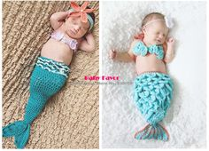 Free Shipping 3pcs Kid Infant Newborn Baby Girl Knit Crochet Mermaid Clothes Photo Prop Outfit Set Suit Costume Sweater Blue $13.99 - 15.99