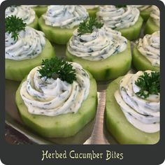 Herbed Cucumber Bites—Perfect for showers, cocktail parties, or tea parties! …