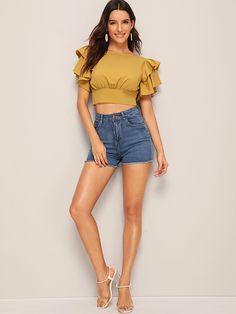 Ad: Tiered Layered Tie Open Back Crop Blouse. Tags: Round Neck Yellow Tie Back Fabric has no stretch Regular Fit Crop No Polyester Plain Summer Short Sleeve Layered Sleeve Boho Placket Polyester Teen Fashion Outfits, Girl Fashion, Girl Outfits, Cute Outfits, Sleeves Designs For Dresses, Crop Top Outfits, Couture Tops, Crop Blouse, Blouse Designs