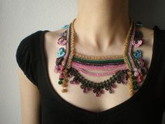 New to irregularexpressions on Etsy: Primula Sieboldii ... Beaded Crochet Necklace - Pink Beige Green Maroon Blue - Flowers - Beadwork Statement Necklace (198.00 USD)