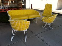 A Comfortable Set Of Outdoor Furniture That Looks Very Retro And Would Look Great With Its