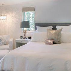 Elsa Soyars - bedrooms - floor mirror, white floor mirror, lacquer floor mirror, white lacquer floor mirror, lacquered floor mirror, white lacquered floor mirror, gray headboard, white bedding, white nightstands,