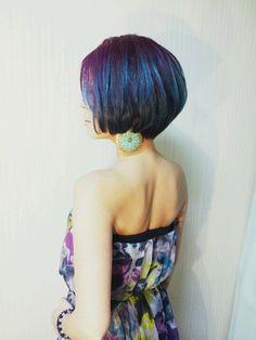 peacock  hair color ombre!  グラデーション ヘアカラー アシンメトリー bob