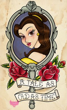 The second in my Disney American traditional tattoo series- Belle!