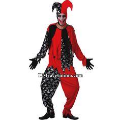Tu mejor disfraz bufon hombre adulto. Con este terrorífico disfraz de Bufón de la Muerte para hombre formarás parte del  circo siniestro. Es ideal para la noche de Halloween o fiestas de terror en Carnaval.Categoria:disfraces halloween adulto para hombre.Incluye: Camisa, pantalon y sombrero.