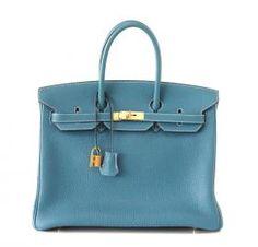 Hermes Birkin Bag 35 Togo Blue Jean Gold Hardware #hermes