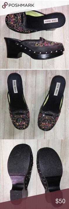 NWOT STEVE MADDEN CLOGS 8&1/2 Beautiful NEW clogs. Beadwork is gorgeous and Gypsy-like style. Black satin upper, synthetic lower. Studded around base and beaded with delicate colorful design. These shoes have never been worn as you can see in the picture of the bottom, tried on, NEVER WORN.PERFECT CONDITION. Steve Madden Shoes Mules & Clogs