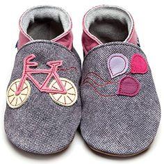 Inch Blue Mädchen/Jungen Schuhe für den Kinderwagen aus luxuriösem Leder - Weiche Sohle - Fahrrad Jeansblau/Rosarot - http://on-line-kaufen.de/inch-blue-2/kinder-l-4-5-jahre-19cm-mit-transparenter-tasche-7