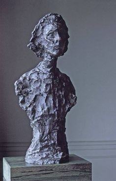 Alberto Giacometti — Bust of Annette,  1962. Sculpture: Bronze, 59.06 x 25.4 x 19.05 cm. San Francisco Museum of Modern Art, United States.  • Sculpture • Sculpture portraits • 1960s