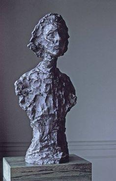 Alberto Giacometti — Bust of Annette,  1962. Sculpture: Bronze, 59.06 x 25.4 x 19.05 cm. San Francisco Museum of Modern Art, United States.  • Sculpture • Sculpture portraits • 1960s
