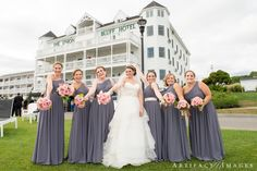 Fun Bride and Bridesmaids portrait out front the Beautiful Union Bluff, York, ME by New England Wedding Photographers Artifact Images