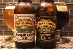 Sierra Nevada Boomerang IPA (6.7%) & Coffee Stout (6.2%). New & available in Snowpack Variety Pack.