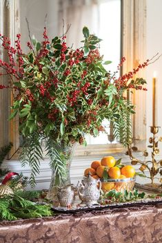 A bounty of natural Yuletide treasure in halls decked with fragrant branches, showy blooms, and vibrant berries await discovery in our November/December issue. Purchase on newsstands now or via our new online store. Christmas Open House, Southern Christmas, Christmas Love, All Things Christmas, Christmas Ideas, Merry Christmas, Beautiful Christmas, Christmas Vignette, Celebrating Christmas