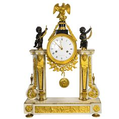 French Louis XVI Marble, Ormolu and Patinated Bronze Mantel Clock, circa 1780 | From a unique collection of antique and modern clocks at https://www.1stdibs.com/furniture/more-furniture-collectibles/clocks/