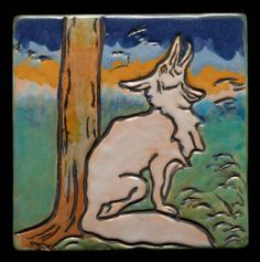 Tile of wolf howling, about 1920–42.