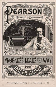Ubisoft Canada / Assassin's Creed: Science Created as part of the campaign for the Assassin's Creed Syndicate video game, which is set in Victorian. Vintage Labels, Vintage Ephemera, Vintage Ads, Vintage Posters, Vintage Logos, Retro Logos, Vintage Type, Vintage Sheets, Retro Ads