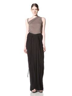 51% OFF Rick Owens Lilies Women\'s Drape And Ruched Long Skirt (Black)