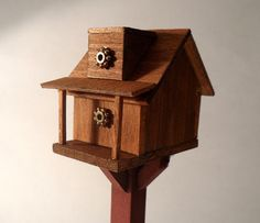 Cabin Birdhouse on Standing Post dollhouse miniature