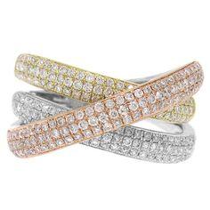 1.00CT 14K Tri Color Multi Tone Gold Diamond Crossover X Bridge Cocktail Ring #SageDesignsLA #Bridge