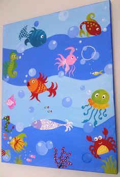 Under the sea ORIGINAL 16x20 handmade painting on by memearts, $251.17