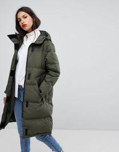 Selected Long Down Padded Coat. Зеленое ПальтоСкоро ЗимаОтборКурткиЮбкиЛето 57408ca41048e
