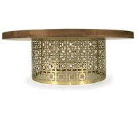 I love the lacy texture of the brass base with the smooth oiled walnut. Both modern and funky/ethnic