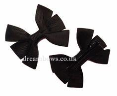 Black grosgrain ribbon hair bows on alligator clips - £2.50 a pair www.dreambows.co.uk