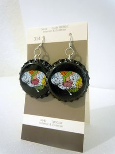 Black Brainilizer Bottlecap Earrings--Beige--eco--upcycling. $5.00, via Etsy.