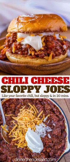 Chili Cheese Sloppy Joes – Dinner, then Dessert Chili Cheese Sloppy Joes that taste like your favorite bowl of chili meets a delicious and easy sloppy joe recipe in just 20 minutes. Plus it's not spicy so it's kid approved! Chili Recipes, Crockpot Recipes, Cooking Recipes, Chili Bowl Recipe, Easy Cooking, Potato Recipes, Healthy Cooking, Casserole Recipes, Drink Recipes