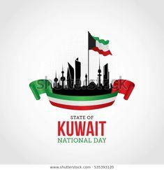 Ilustración vectorial de la celebración del Día Nacional de Kuwait. Kuwait National Day, Flag Background, Vector Background, Happy National Day, Family Wishes, Framed Wallpaper, Flag Art, Flag Logo, Mobile Covers