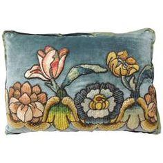 18th Century Petite Applique Lumbar Velvet Pillow