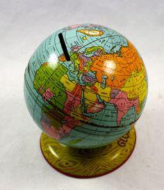 Vintage 1930s J CHEIN TIN GLOBE World Bank by LuckySevenVintage, $29.00