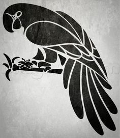 JO: How to Draw a Tribal Parrot Tutorial Hmmm,.this Isn't what I'd consider a Tribal bird (esp as compared to the Tribal dolphin) BUT this tute will teach ya how to draw a parrot, then u can tweak it to your liking in order to make it 'Tribal. Parrot Drawing, Animal Stencil, Stencil Painting, Stenciling, Cockatoo, Stencil Designs, Kirigami, Tribal Art, Bird Art