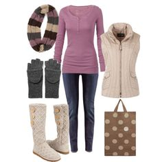 Lavender and neutral Fall Outfit  Without the shoes, bag and vest though.