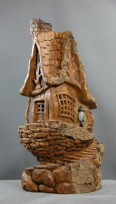 Art From The Bark Woodcarving Art Gallery. Clay Houses, Ceramic Houses, Miniature Houses, Clay Fairy House, Fairy Garden Houses, Wood Carving Designs, Wood Carving Patterns, Plastic Bottle House, Wood Bark
