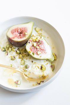 figs, pistachio, yoghurt, honey.